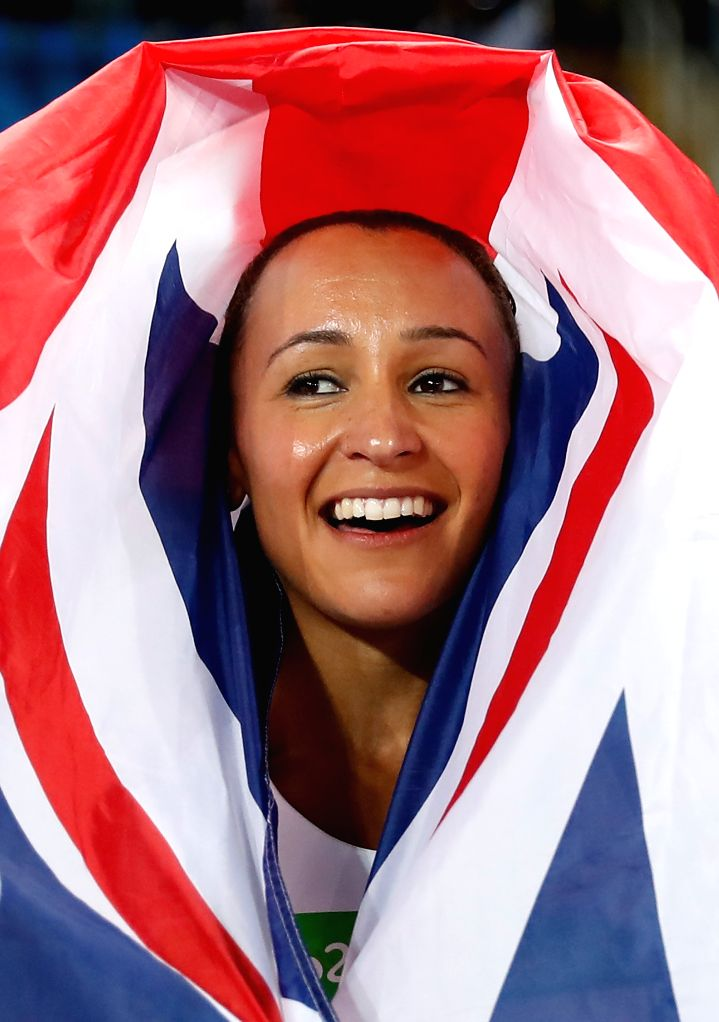 RIO DE JANEIRO, Aug. 13, 2016 - Jessica Ennis of Great Britain celebrates after Women's Heptathlon 800m heat of the Rio 2016 Olympic Games at Olympic Stadium in Rio de Janeiro, Brazil, on Aug. 13, ...