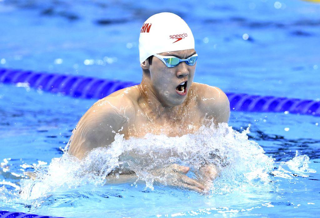 RIO DE JANEIRO, Aug. 13, 2016 - Li Xiang of China competes during the men's 4x100m medley relay final at the 2016 Rio Olympic Games in Rio de Janeiro, Brazil, on Aug. 13, 2016.