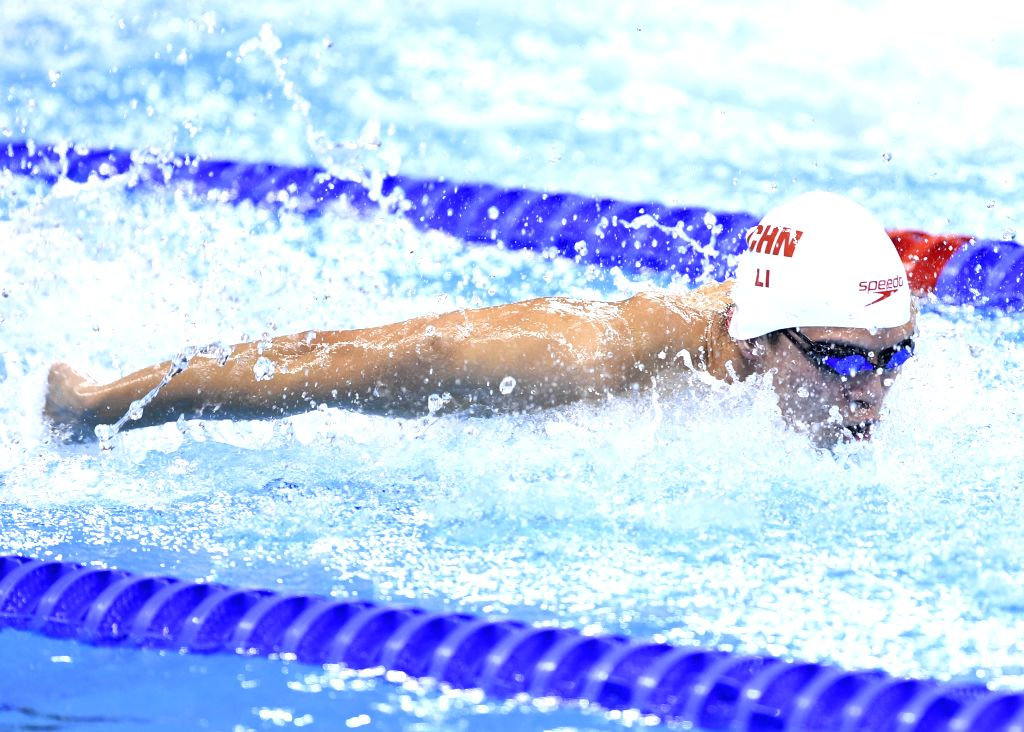 RIO DE JANEIRO, Aug. 13, 2016 - Li Zhuhao of China competes during the men's 4x100m medley relay final at the 2016 Rio Olympic Games in Rio de Janeiro, Brazil, on Aug. 13, 2016.