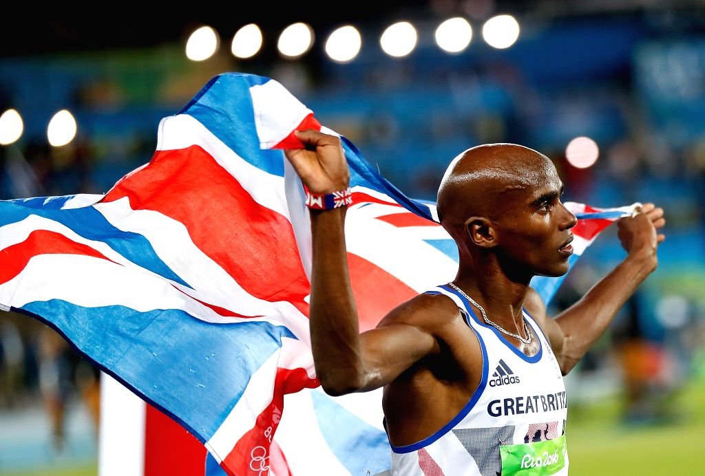 RIO DE JANEIRO, Aug. 13, 2016 - Mohamed Farah of Great Britain celebrates after the final of men's 10000m at the 2016 Rio Olympic Games in Rio de Janeiro, Brazil, on Aug. 13, 2016. Mohamed Farah won ...