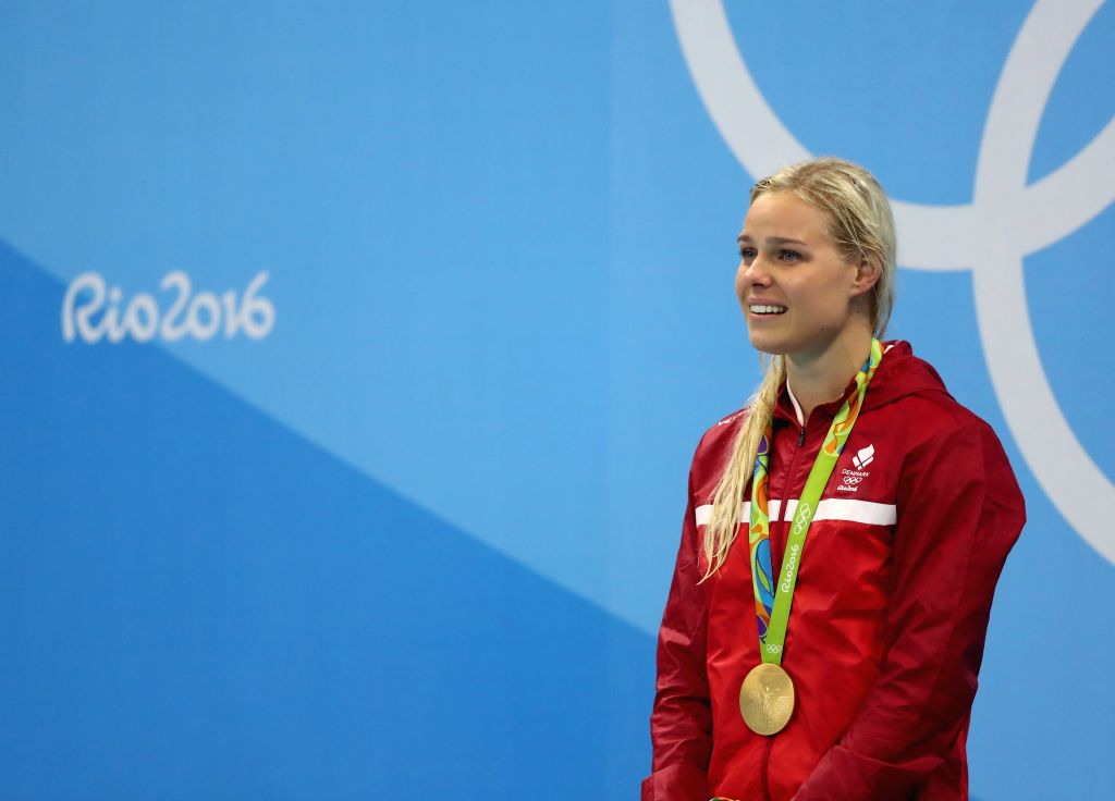 RIO DE JANEIRO, Aug. 13, 2016 - Pernille Blume of Denmark attends the awarding ceremony of the women's 50m freestyle final at the 2016 Rio Olympic Games in Rio de Janeiro, Brazil, on Aug. 13, 2016. ...