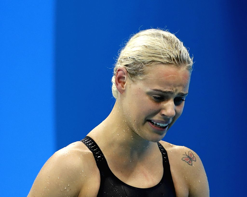 RIO DE JANEIRO, Aug. 13, 2016 - Pernille Blume of Denmark cries after the women's 50m freestyle final at the 2016 Rio Olympic Games in Rio de Janeiro, Brazil, on Aug. 13, 2016. Pernille Blume won the ...