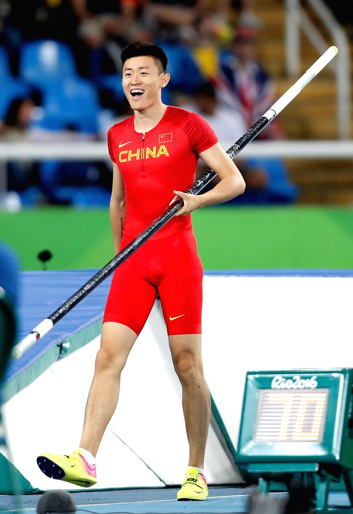RIO DE JANEIRO, Aug. 13, 2016 - Xue Changrui of China celebrates during the Men's Pole Vault Qualifying Round of the Rio 2016 Olympic Games at Olympic Stadium in Rio de Janeiro, Brazil, on Aug. 13, ...
