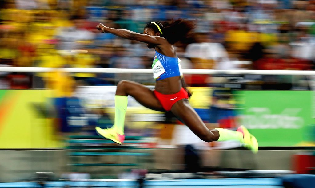 RIO DE JANEIRO, Aug. 14, 2016 - Caterine Ibarguen of Colombia competes during the final of women's triple jump at the 2016 Rio Olympic Games in Rio de Janeiro, Brazil, on Aug. 14, 2016. Caterine ...
