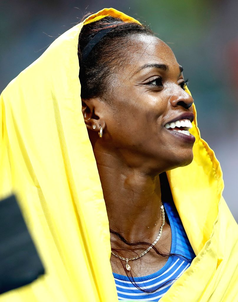 RIO DE JANEIRO, Aug. 14, 2016 - Caterine Ibarguen of Colombia celebrates after the final of women's triple jump at the 2016 Rio Olympic Games in Rio de Janeiro, Brazil, on Aug. 14, 2016. Caterine ...