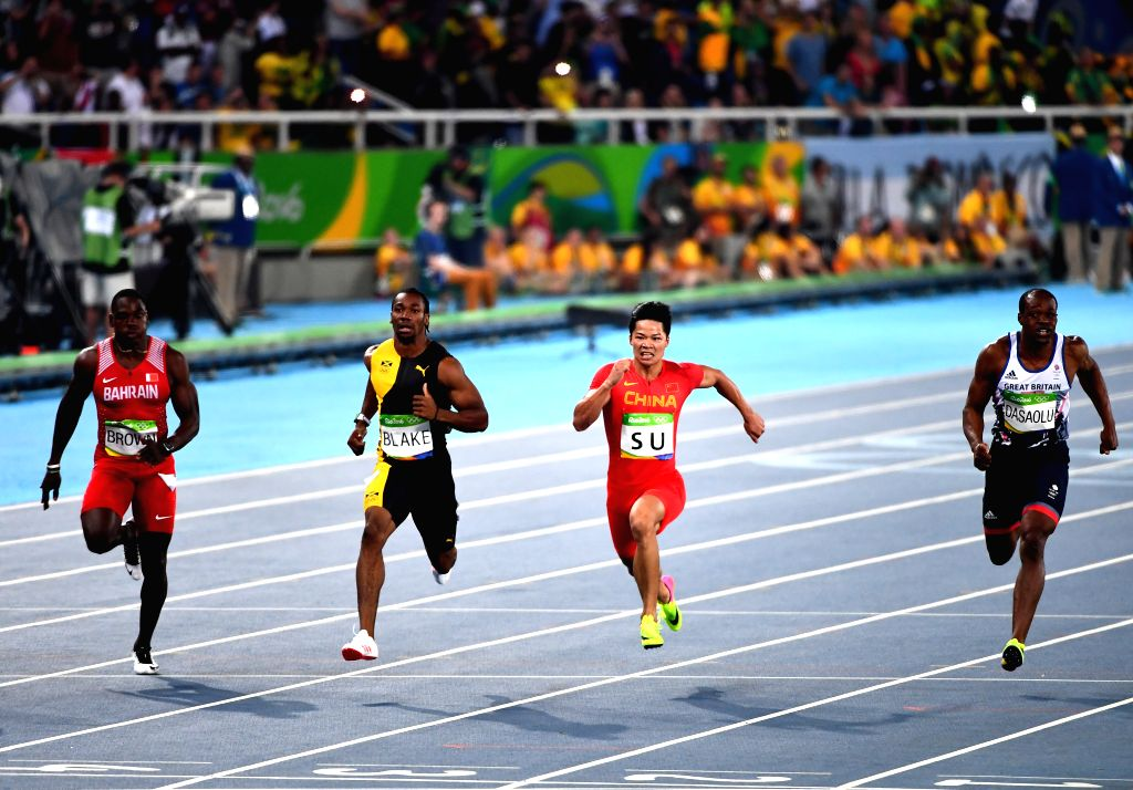 RIO DE JANEIRO, Aug. 14, 2016 - China's Su Bingtian (2nd R) competes during men's 100m semifinal of Athletics at the 2016 Rio Olympic Games in Rio de Janeiro, Brazil, on Aug. 14, 2016.