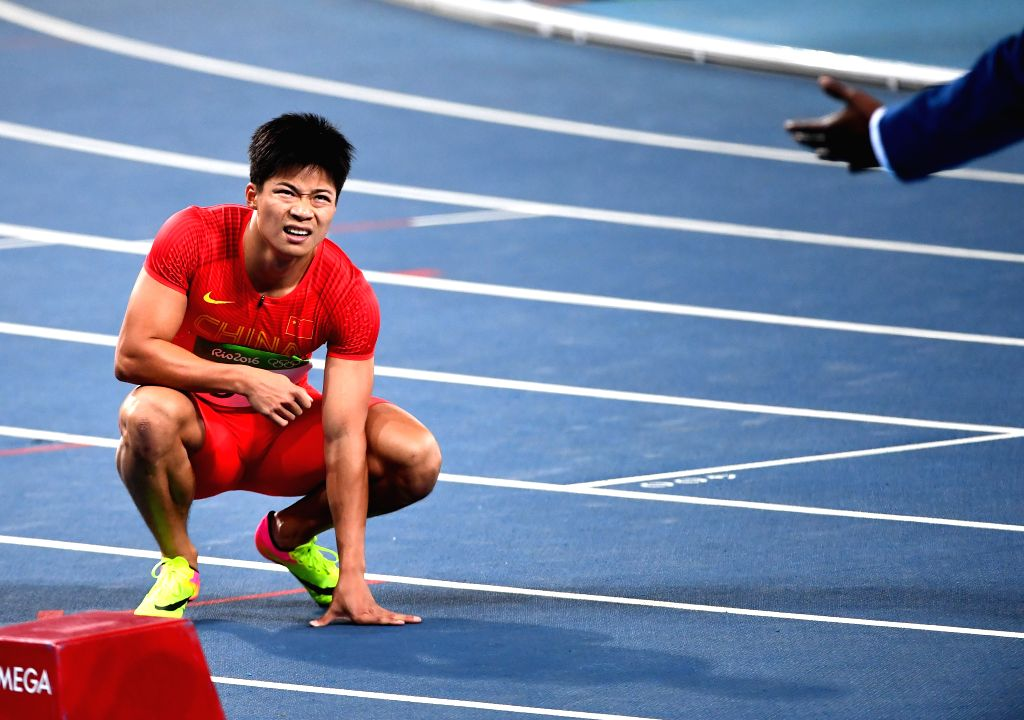 RIO DE JANEIRO, Aug. 14, 2016 - China's Su Bingtian reacts after men's 100m semifinal of Athletics at the 2016 Rio Olympic Games in Rio de Janeiro, Brazil, on Aug. 14, 2016.