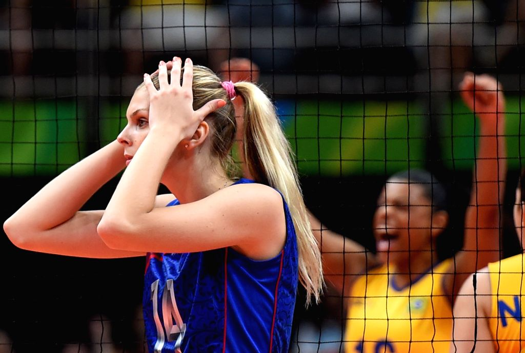 RIO DE JANEIRO, Aug. 14, 2016 - Irina Fetisova of Russia reacts during the women's volleyball preliminary pool A between Brazil and Russia at the 2016 Rio Olympic Games in Rio de Janeiro, Brazil, on ...
