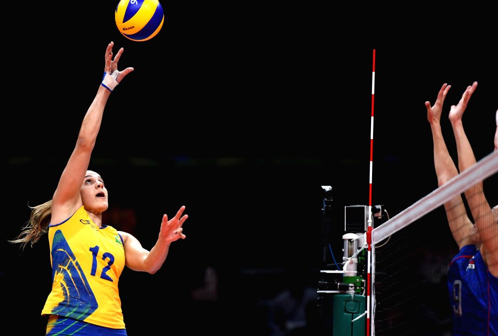 RIO DE JANEIRO, Aug. 14, 2016 - Natalia Pereira of Brazil competes during the women's volleyball preliminary pool A between Brazil and Russia at the 2016 Rio Olympic Games in Rio de Janeiro, Brazil, ...