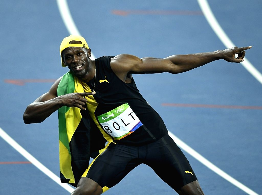 RIO DE JANEIRO, Aug. 14, 2016 - Usain Bolt of Jamaica competes during the final of men's 100m at the 2016 Rio Olympic Games in Rio de Janeiro, Brazil, on Aug. 14, 2016. Usain Bolt won the gold medal ...