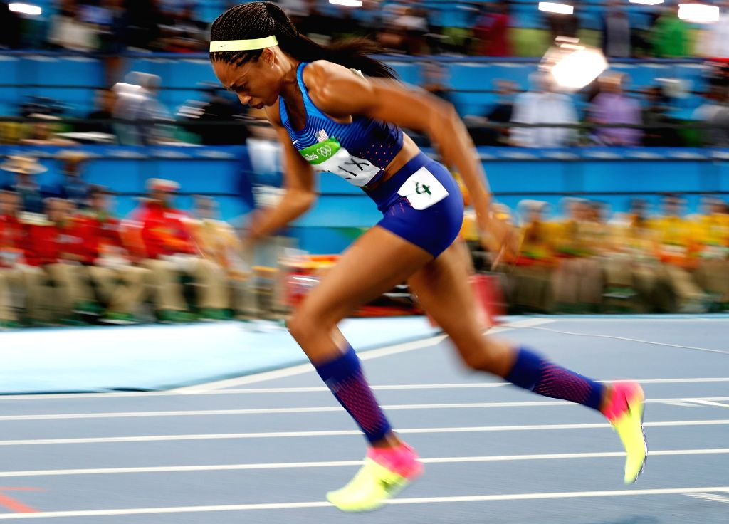 RIO DE JANEIRO, Aug. 15, 2016 - Allyson Felix of the United States competes during the women's 400m final at the 2016 Rio Olympic Games in Rio de Janeiro, Brazil, on Aug. 15, 2016. Allyson Felix won ...