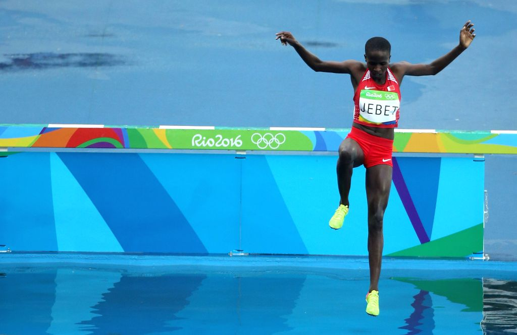RIO DE JANEIRO, Aug. 15, 2016 - Bahrain's Ruth Jebet competes during the women's 3000m steeplechase final of Athletics at the 2016 Rio Olympic Games in Rio de Janeiro, Brazil, on Aug. 15, 2016. Ruth ...