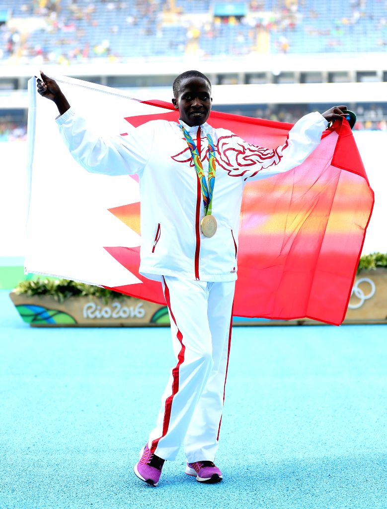 RIO DE JANEIRO, Aug. 15, 2016 - Bahrain's Ruth Jebet attends the awarding ceremony for the women's 3000m steeplechase final of Athletics at the 2016 Rio Olympic Games in Rio de Janeiro, Brazil, on ...