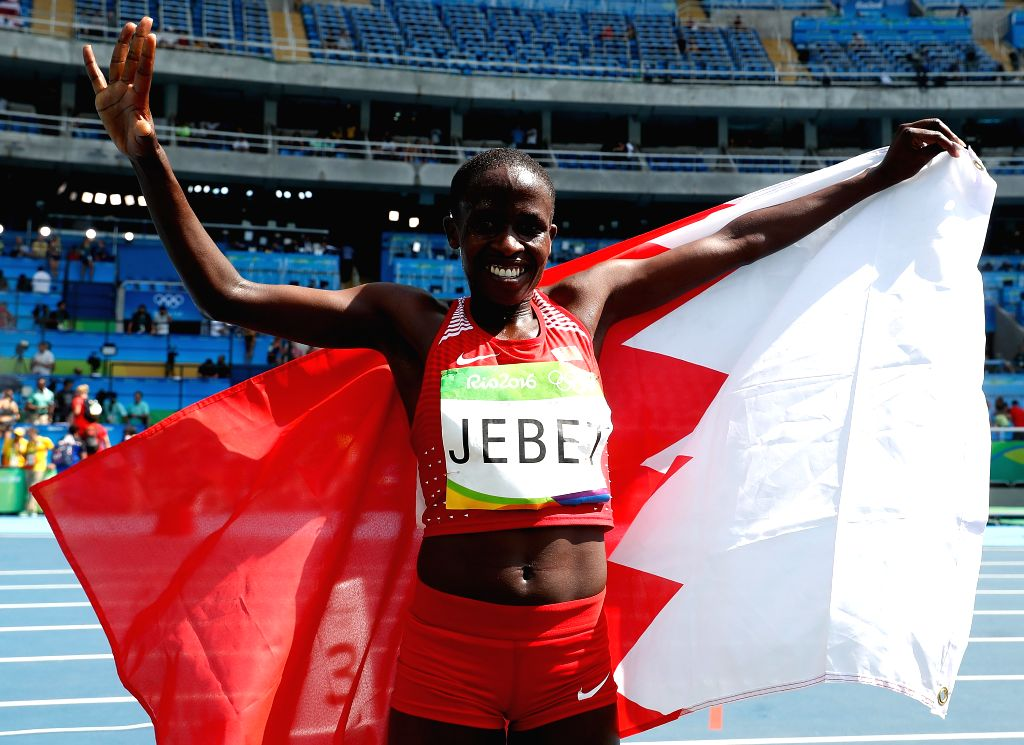 RIO DE JANEIRO, Aug. 15, 2016 - Bahrain's Ruth Jebet celebrates after the women's 3000m steeplechase final of Athletics at the 2016 Rio Olympic Games in Rio de Janeiro, Brazil, on Aug. 15, 2016. Ruth ...