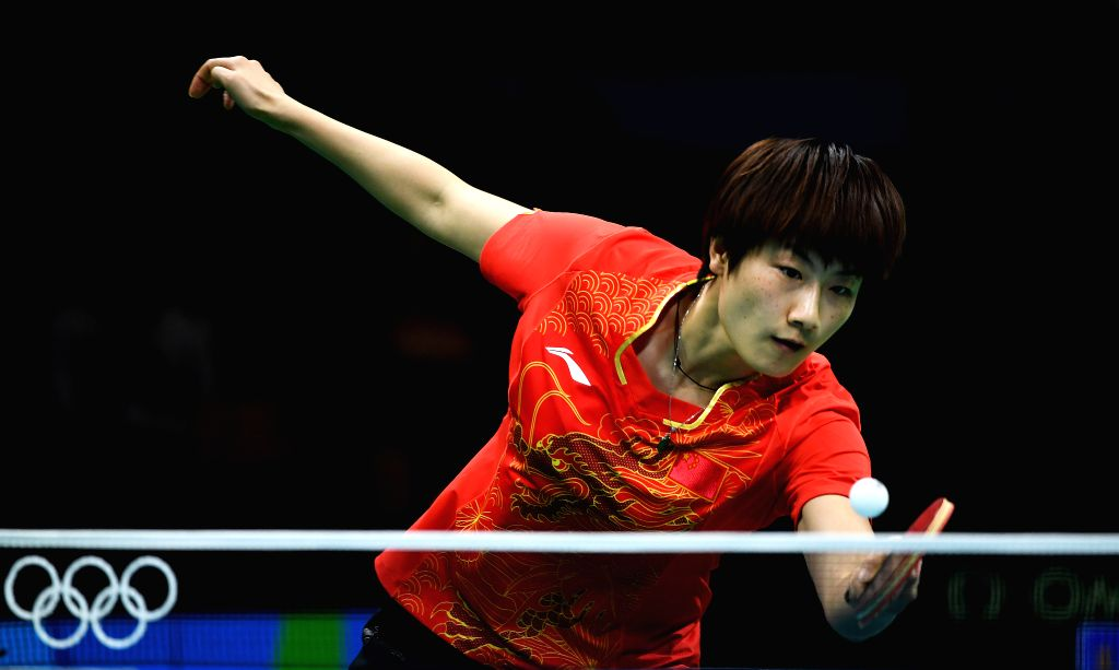 RIO DE JANEIRO, Aug. 15, 2016 - China's Ding Ning competes during women's team semifinal of Tabel Tennis against Singapore at the 2016 Rio Olympic Games in Rio de Janeiro, Brazil, on Aug. 15, 2016. ...