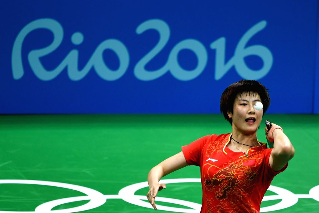 RIO DE JANEIRO, Aug. 15, 2016 - China's Ding Ning serves during women's team semifinal of Tabel Tennis against Singapore at the 2016 Rio Olympic Games in Rio de Janeiro, Brazil, on Aug. 15, 2016. ...