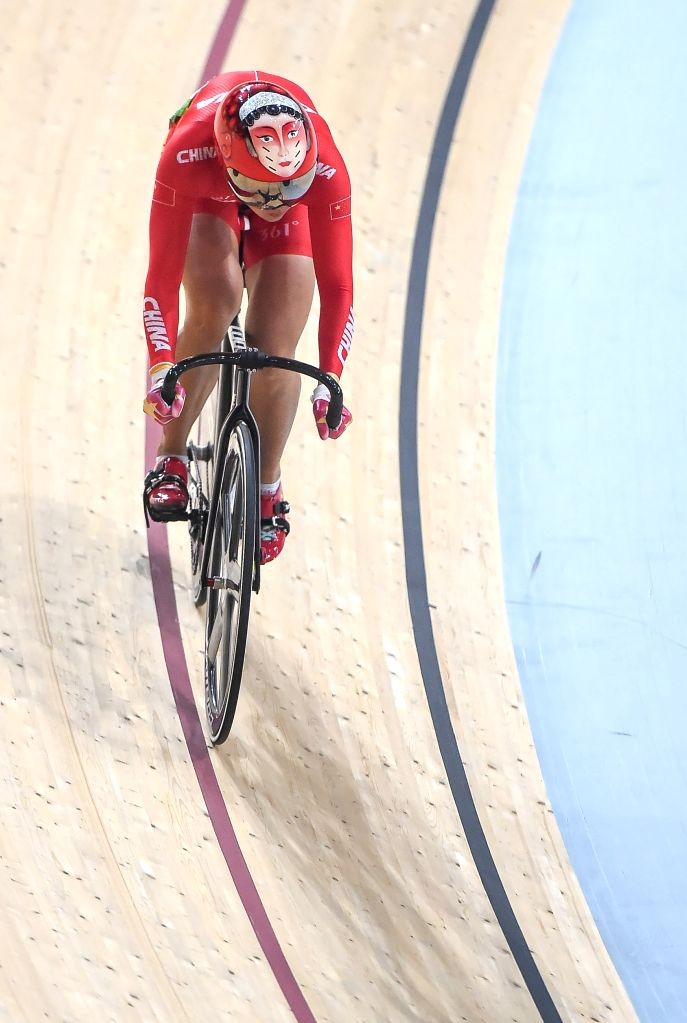 RIO DE JANEIRO, Aug. 15, 2016 - China's Zhong Tianshi competes during a women?s sprint competition of Cycling Track at the 2016 Rio Olympic Games in Rio de Janeiro, Brazil, on Aug. 15, 2016.