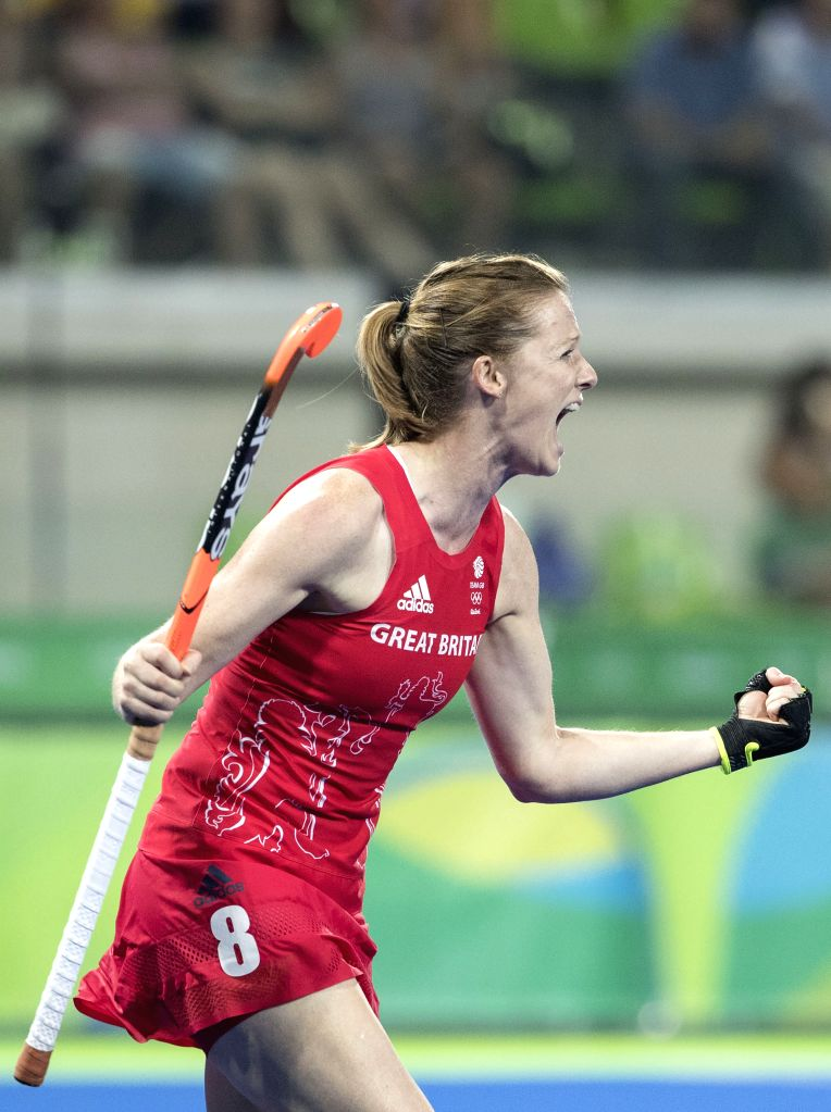 RIO DE JANEIRO, Aug. 15, 2016 - Helen Richardson-Walsh of Great Britain celebrates during the women's hockey semifinal between Great Britain and New Zealand at the 2016 Rio Olympic Games in Rio de ...