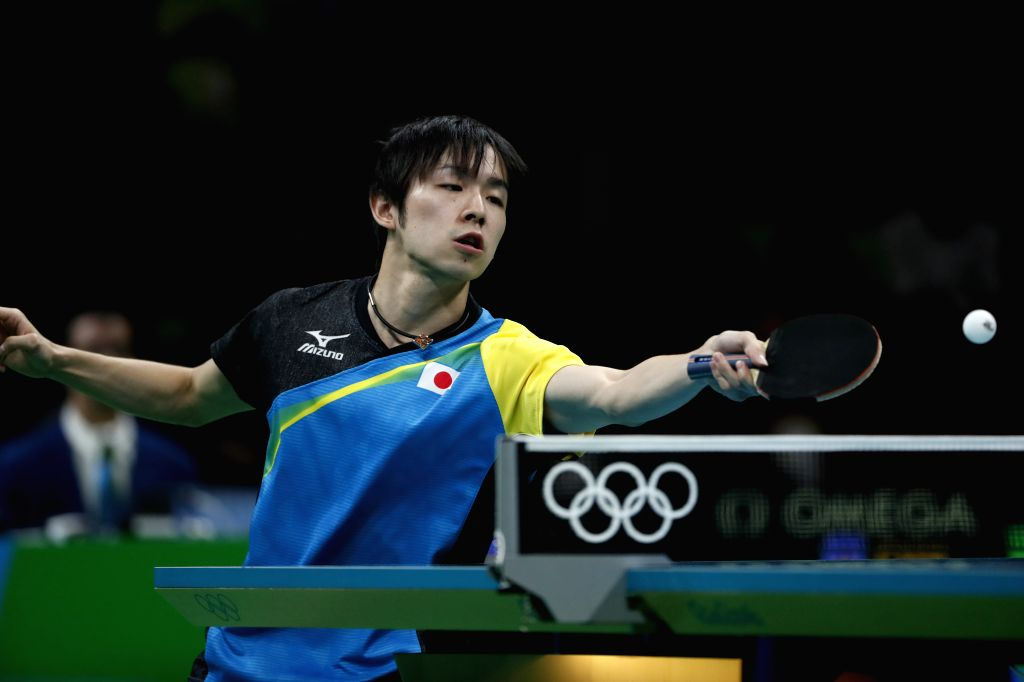 RIO DE JANEIRO, Aug. 15, 2016 - Japan's Koki Niwa competes during the men's team gold medal match of Tabel Tennis against China at the 2016 Rio Olympic Games in Rio de Janeiro, Brazil, on Aug. 15, ...