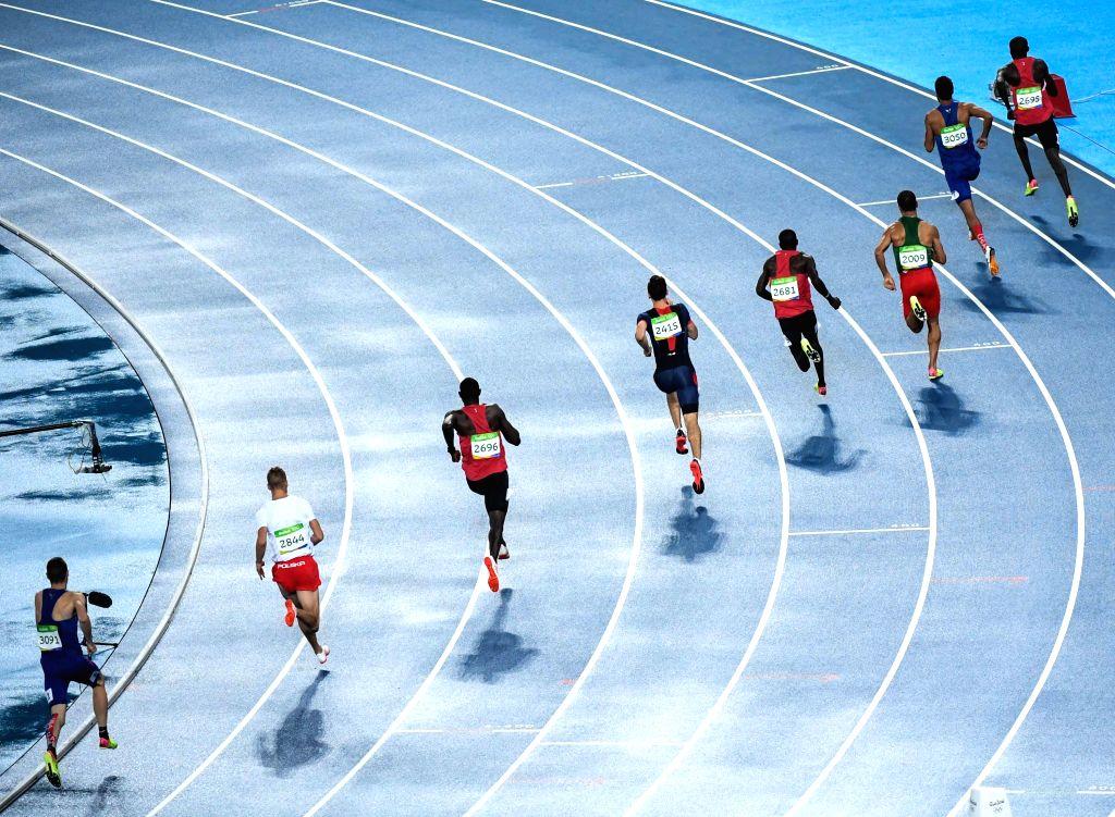 RIO DE JANEIRO, Aug. 15, 2016 - Lekuta David Rudisha of Kenya (3rd L) competes during the men's 800m final at the 2016 Rio Olympic Games in Rio de Janeiro, Brazil, on Aug. 15, 2016. Lekuta David ...