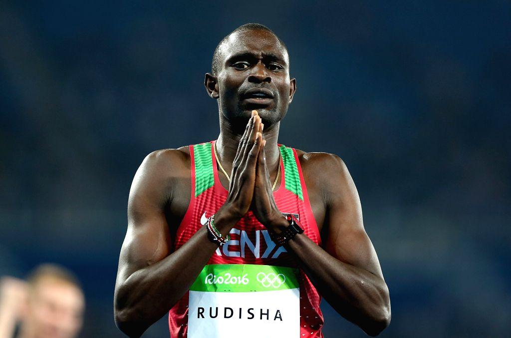 RIO DE JANEIRO, Aug. 15, 2016 - Lekuta David Rudisha of Kenya celebrates after the men's 800m final at the 2016 Rio Olympic Games in Rio de Janeiro, Brazil, on Aug. 15, 2016. Lekuta David Rudisha won ...