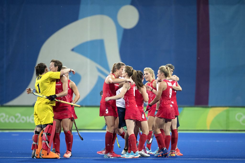 RIO DE JANEIRO, Aug. 15, 2016 - Players of Great Britain celebrate after the women's hockey semifinal between Great Britain and New Zealand at the 2016 Rio Olympic Games in Rio de Janeiro, Brazil, on ...