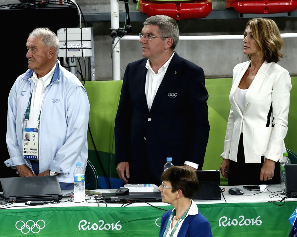 RIO DE JANEIRO, Aug. 15, 2016 - Thomas Bach (C), president of International Olympic Committee (IOC), watches Artistic Gymnastics competitions at the Rio Olympic Arena in Rio de Janeiro, Brazil, on ...