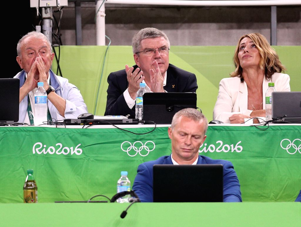 RIO DE JANEIRO, Aug. 15, 2016 - Thomas Bach (Top, C), president of International Olympic Committee (IOC), watches Artistic Gymnastics competitions at the Rio Olympic Arena in Rio de Janeiro, Brazil, ...
