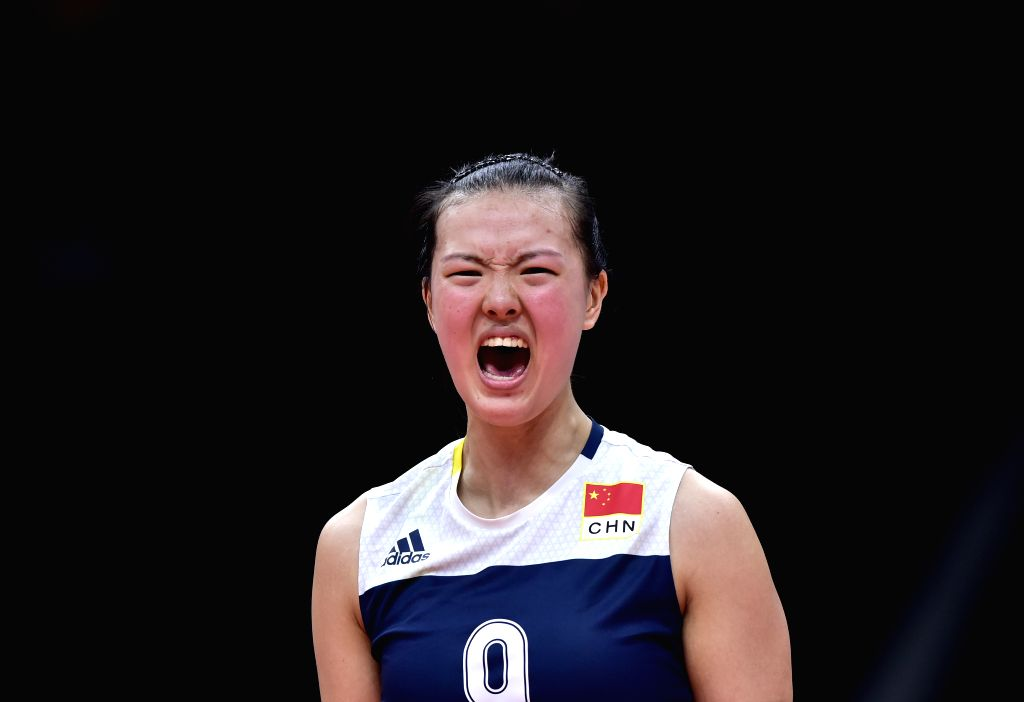 RIO DE JANEIRO, Aug. 16, 2016 - China's Zhang Changning reacts during a women's quarterfinal of Volleyball between China and Brazil at the 2016 Rio Olympic Games in Rio de Janeiro, Brazil, on Aug. ...