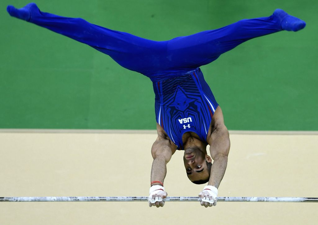 RIO DE JANEIRO, Aug. 16, 2016 - Danell Leyva of the United States of America competes during the men's horizontal bar final of Artistic Gymnastics at the 2016 Rio Olympic Games in Rio de Janeiro, ...