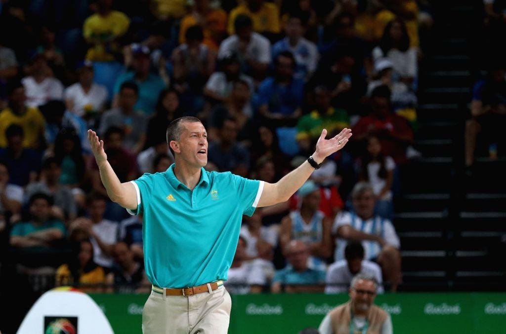 RIO DE JANEIRO, Aug. 17, 2016 - Andrej Lemanis, coach of Australia gestures during the men's basketball quarterfinal between Australia and Lithuania at the 2016 Rio Olympic Games in Rio de Janeiro, ...