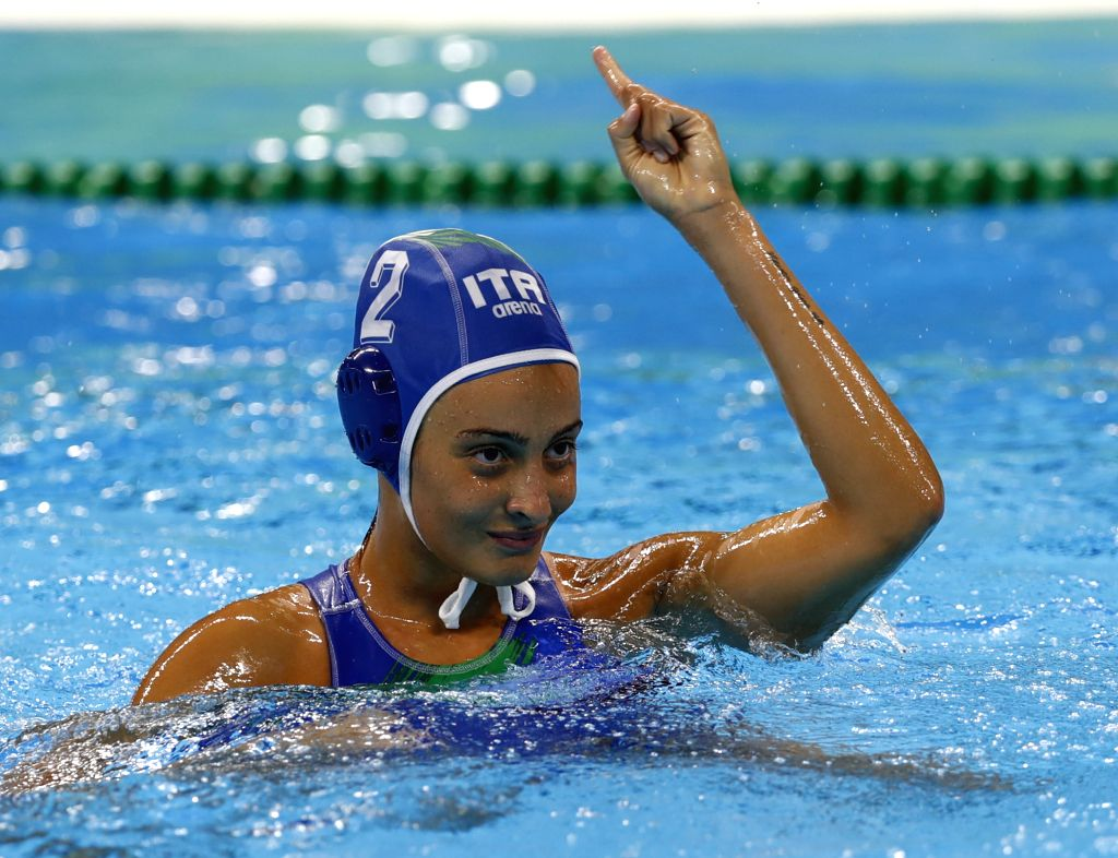 RIO DE JANEIRO, Aug. 17, 2016 - Chiara Tabani (L) of Italy celebrates during the women's water polo semifinal between Italy and Russia at the 2016 Rio Olympic Games in Rio de Janeiro, Brazil, on Aug. ...