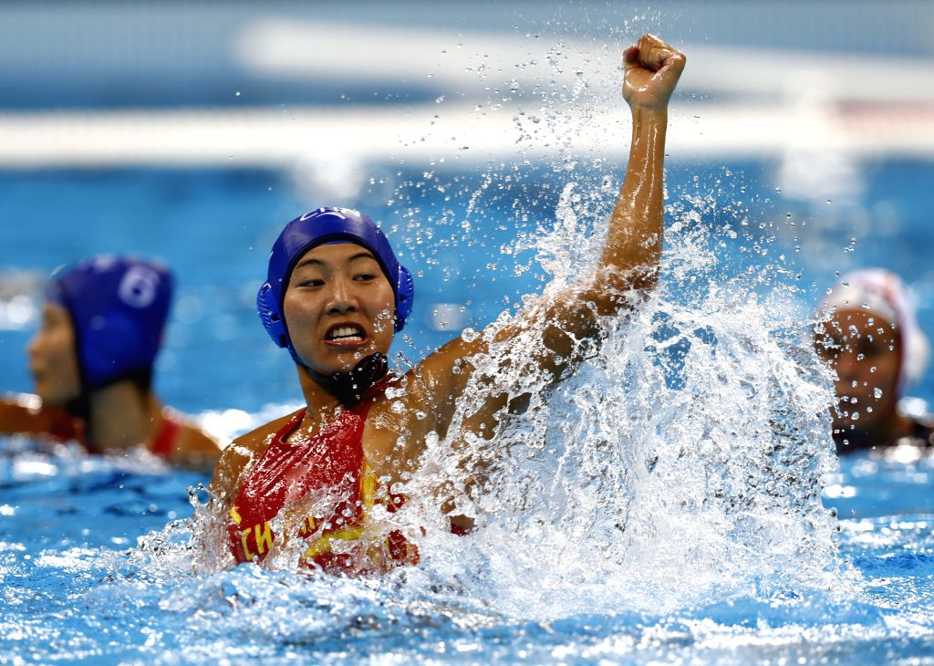 RIO DE JANEIRO, Aug. 17, 2016 - China's Zhang Jing reacts during women's classification 5th-8th place match of Water Polo against Spain at the 2016 Rio Olympic Games in Rio de Janeiro, Brazil, on ...