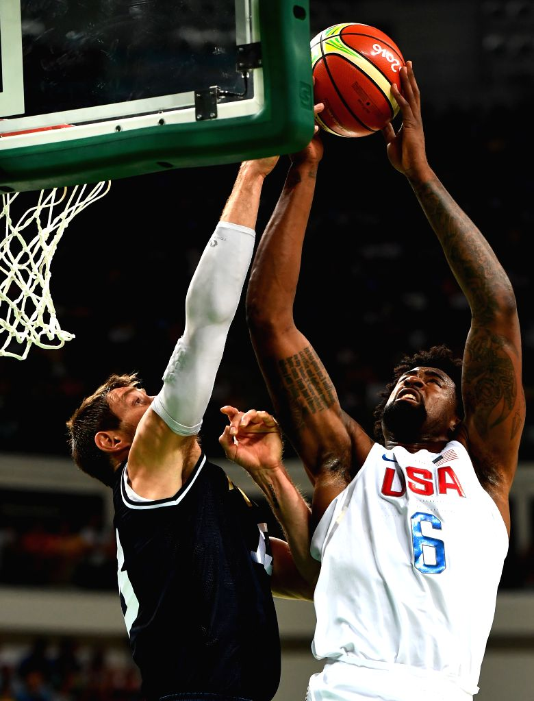 RIO DE JANEIRO, Aug. 17, 2016 - DeAndre Jordan (R) of the United States of America goes up for a shot during the men's quarterfinal of Basketball against Argentina at the 2016 Rio Olympic Games in ...