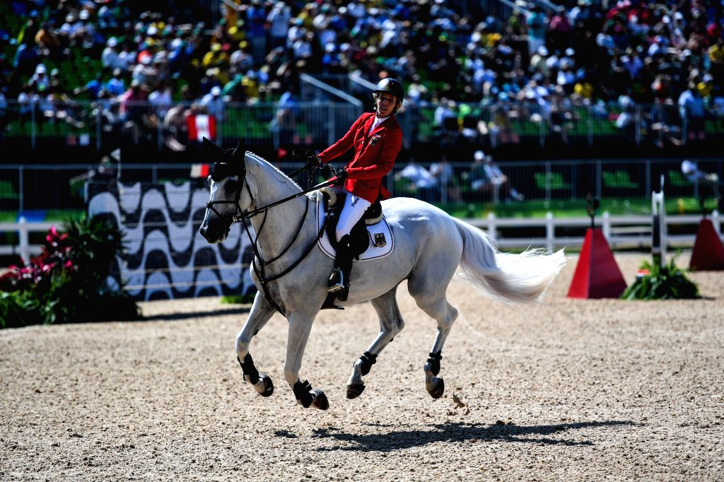 RIO DE JANEIRO, Aug. 17, 2016 - Germany's Ludger Beerbaum competes during the jumping team of Equestrian at the 2016 Rio Olympic Games in Rio de Janeiro, Brazil, on Aug. 17, 2016. Germany won the ...