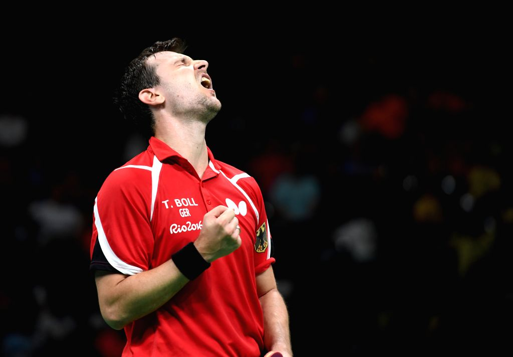 RIO DE JANEIRO, Aug. 17, 2016 - Germany's Timo Boll reacts during the men's team bronze medal match of Table Tennis against South Korea at the 2016 Rio Olympic Games in Rio de Janeiro, Brazil, on ...