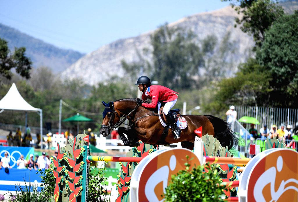 RIO DE JANEIRO, Aug. 17, 2016 - Kent Farrington of the United States of America competes during the jumping team of Equestrian at the 2016 Rio Olympic Games in Rio de Janeiro, Brazil, on Aug. 17, ...