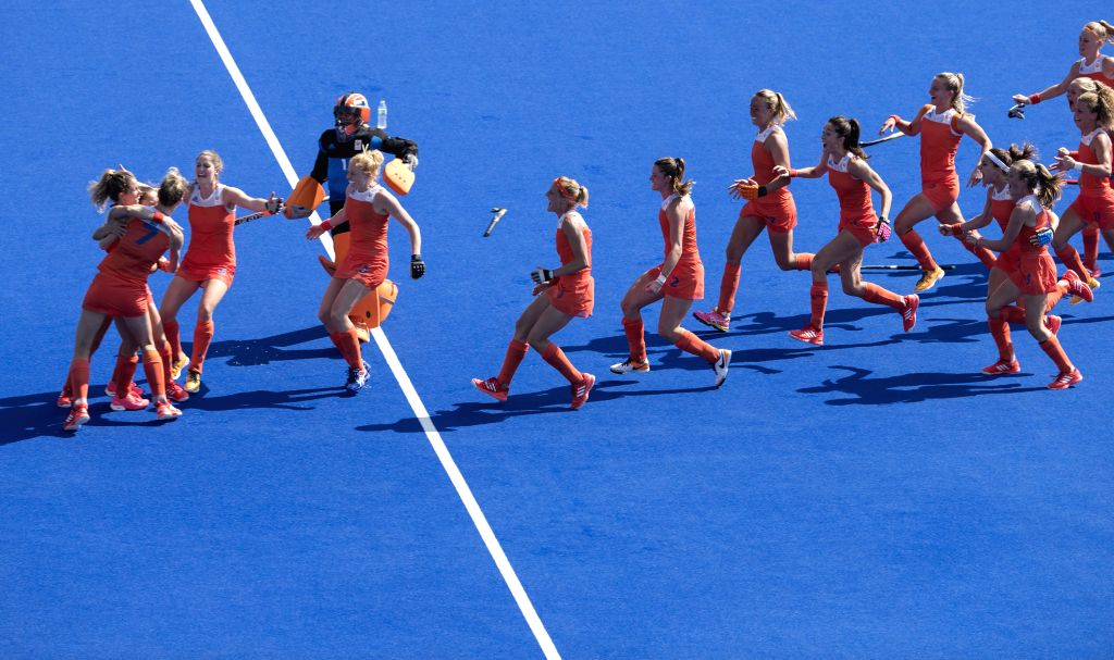 RIO DE JANEIRO, Aug. 17, 2016 - The Netherlands' players celebrate after women's semifinal of Hockey against Germany at the 2016 Rio Olympic Games in Rio de Janeiro, Brazil, on Aug. 17, 2016. The ...
