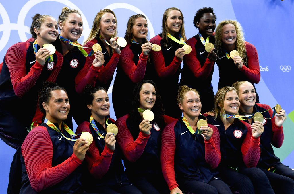 RIO DE JANEIRO, Aug. 19, 2016 - Gold medalists players of the United States of America attend the awarding ceremony for the women's final of Water Polo at the 2016 Rio Olympic Games in Rio de ...