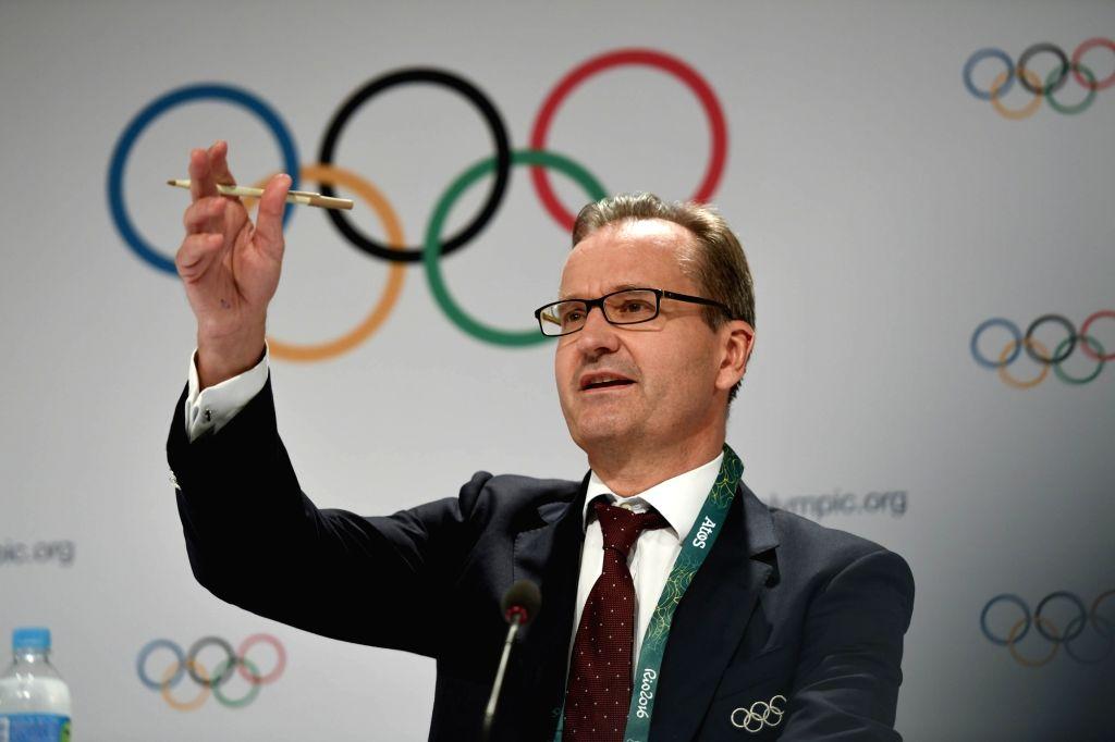 RIO DE JANEIRO, Aug. 2, 2016 - Mark Adams, IOC President's Spokesman speaks at the press conference of 129th IOC session in Rio de Janeiro, Brazil on Aug. 2, 2016. The 129th session of the ...