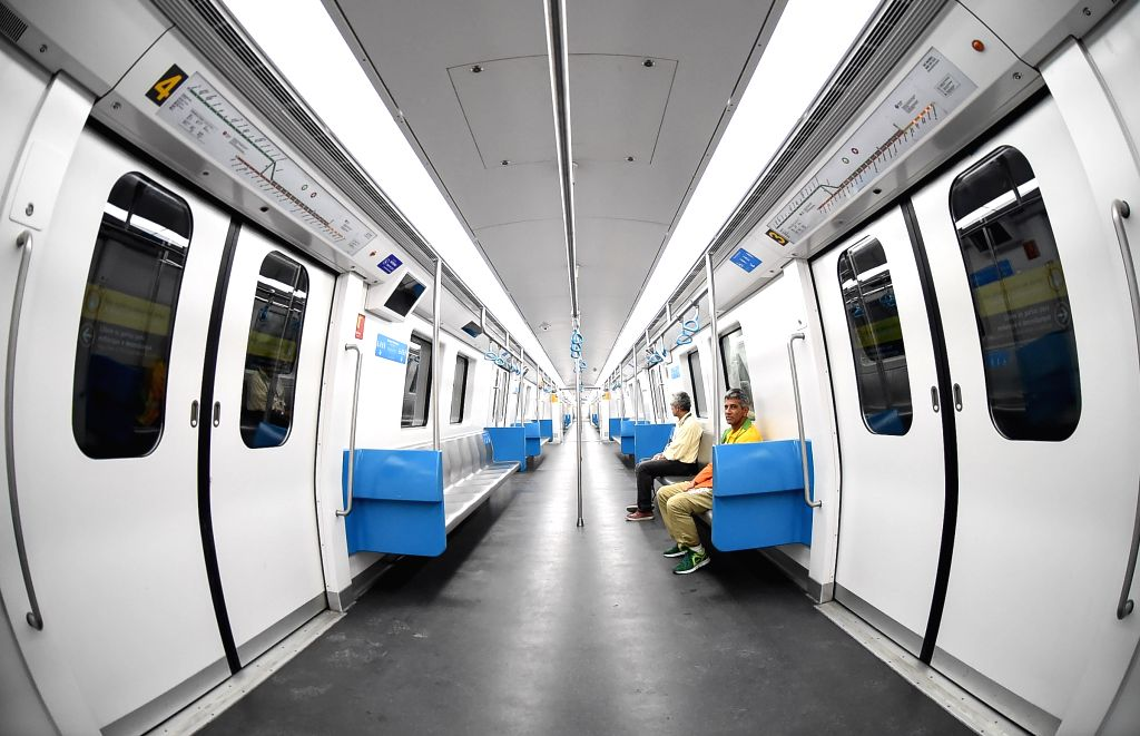 RIO DE JANEIRO, Aug. 2, 2016 - Photo taken on Aug. 1, 2016 shows the interiors of a metro line 4 train in Rio de Janeiro, Brazil. Rio's new metro Line 4, which will be one of the main enduring ...
