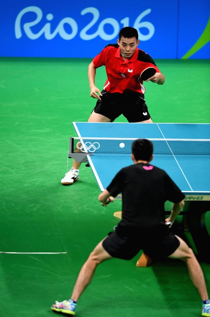 RIO DE JANEIRO, Aug. 4, 2016 - Chen Chien-An of Chinese Taipei (above) practises in a training session of table tennis in Rio de Janeiro, Brazil, on Aug. 4, 2016.