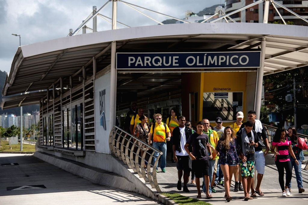 RIO DE JANEIRO, Aug. 6, 2017 - People walk out of a BRT station outside the Barra Olympic Park, in Rio de Janeiro, Brazil, on Aug. 5, 2017. Saturday marked one-year anniversary of 2016 Rio Olympic ...