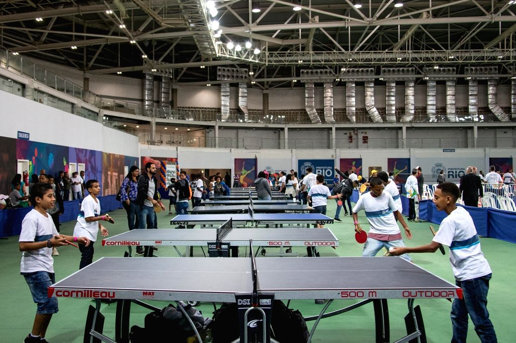 RIO DE JANEIRO, Aug. 6, 2017 - Teenagers play table tennis at the Carioca Arena 3 inside the Barra Olympic Park, in Rio de Janeiro, Brazil, on Aug. 5, 2017. Saturday marked one-year anniversary of ...