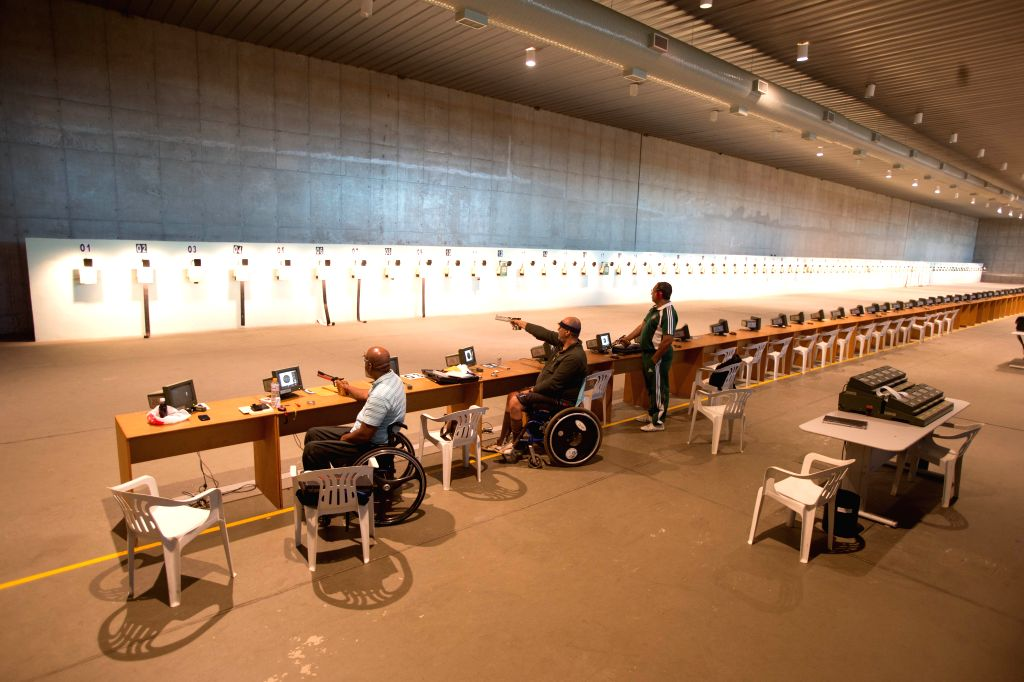 Athletes participate in a training session at the National Shooting Center of Rio 2016 Olympic Games in Rio de Janeiro, Brazil. A renovation will be applied ..