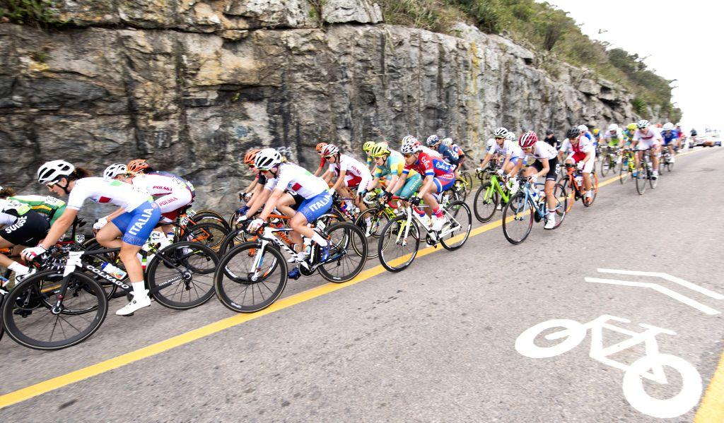 RIO DE JANEIRO, Aug. 7, 2016 - Players compete during the women's cycling road race final in Rio de Janeiro, Brazil, on Aug. 7, 2016. Breggen won gold medal.