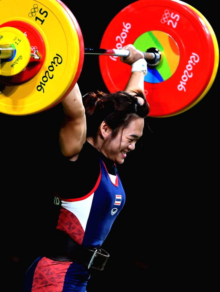 RIO DE JANEIRO, Aug. 8, 2016 - Sukanya Srisurat of Thailand competes during the women's 58kg group A final of weightlifting competition at the 2016 Olympic Games, in Rio de Janeiro, Brazil, on Aug. ...