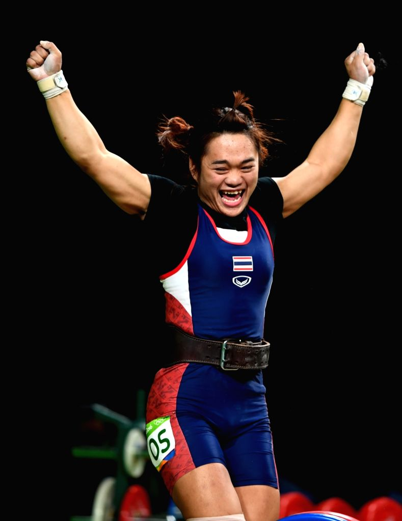 RIO DE JANEIRO, Aug. 8, 2016 - Sukanya Srisurat of Thailand celebrates during the women's 58kg group A final of weightlifting competition at the 2016 Olympic Games, in Rio de Janeiro, Brazil, on Aug. ...