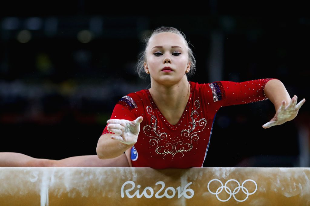 RIO DE JANEIRO, Aug. 9, 2016 - Angelina Melnikova of Russia competes during a balance beam event of women's team final of Artistic Gymnasitcs at the 2016 Rio Olympic Games in Rio de Janeiro, Brazil, ...