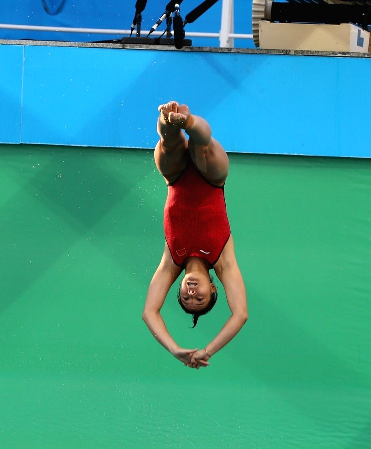 Rio de Janeiro: Chinese diver He Zi competing for the women`s three-metre springboard at the Rio Olympics in Rio de Janeiro on Aug. 14, 2016.